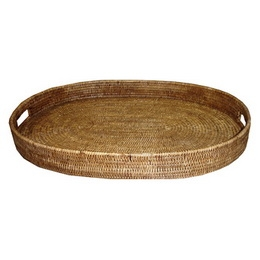 Oval Rattan Tray 26inx19in.x3in. Design