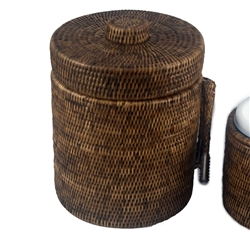 Large Rattan Ice Bucket with Liner & Tongs