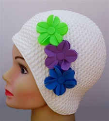 vintage three flower latex swim cap