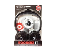 SuperSonic IQ-213 2 in 1 Deep Bass Stereo Headphones & Earphones - BLACK