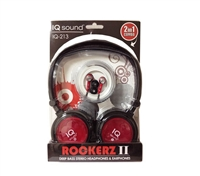 SuperSonic IQ-213 2 in 1 Deep Bass Stereo Headphones & Earphones - RED