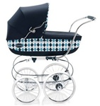 Inglesina Classica Pram and Frame with Diaper Bag in Argyle / Navy