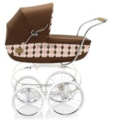 Inglesina Classica Pram and Frame with Diaper Bag in Argyle / Pink