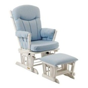 Shermag Chanderic Glider Rocker and Ottoman in Blue Gingham 37908