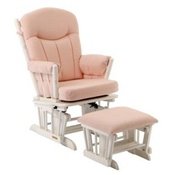 Shermag Chanderic Glider Rocker and Ottoman in Pink Gingham 37908