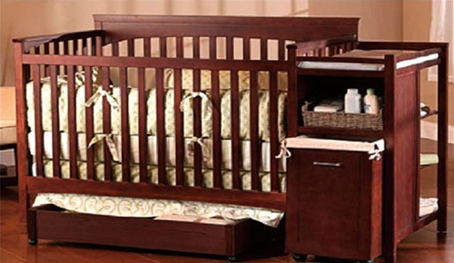 Shermag Hampton Crib N Bed With Changing Station In Cherry