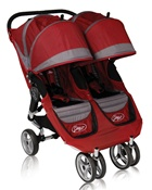 City Mini Double Stroller by Baby Jogger Crimson / Gray