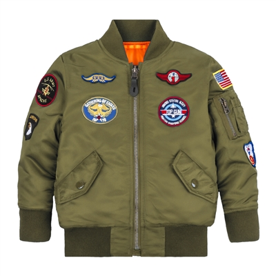Alpha Youth MA-1 Jacket with Patches - YJM21001C1