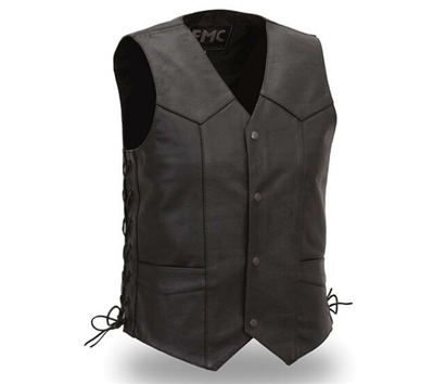 Side Lace Classic Leather Vest - FMM602BM