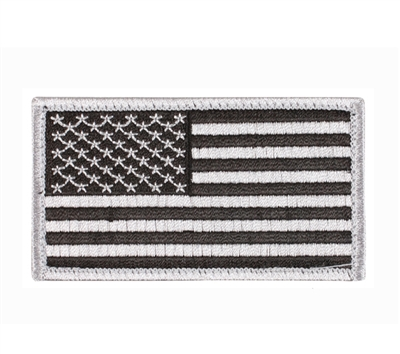 Rothco 17781 US Flag Patch With Hook Back Silver-black - 17781