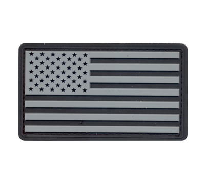 Rothco Silver-Black Us Flag Patch with Hook Back - 27781