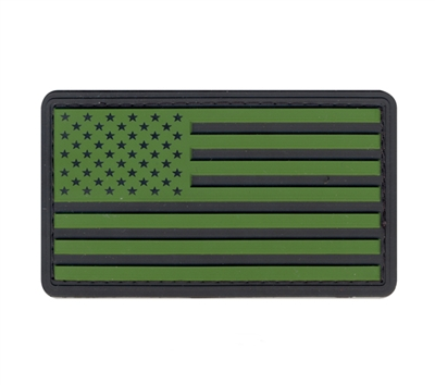 Rothco Olive Drab-Black Us Flag Patch with Hook Back - 27783