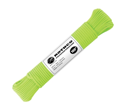 Rothco Lime Green 100 Foot Polyester Paracord - 30802
