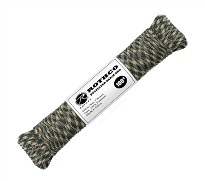 Rothco Woodland Camo 100 Foot Polyester Paracord - 30812