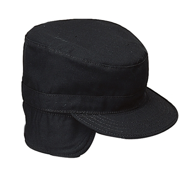 Rothco Black Cap with Flaps - 5812