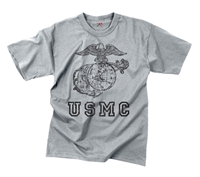 Rothco Grey Vintage Marines T-Shirt - 61343