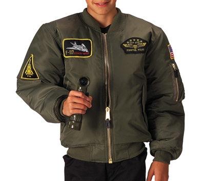 Rothco Kids Sage Flight Jacket With Patches - 7340