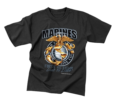 Rothco Black Marines T-Shirt - 80280