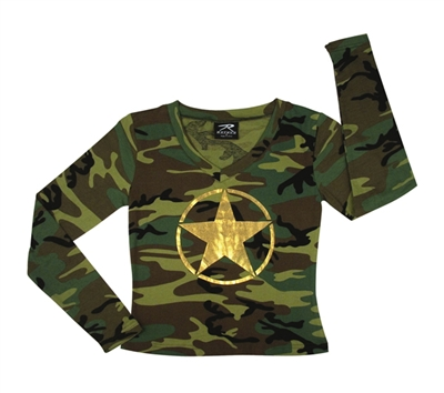 Rothco Womens Woodland Camo Long Sleeve T-Shirt - 8519