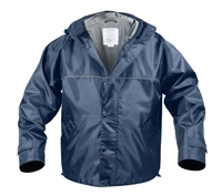 Rothco Navy Nylon Hooded Storm Jacket - 8633