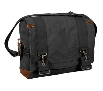Rothco Black Vintage B-15 Pilot Messenger Bag - 9117