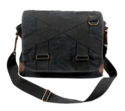 Rothco Black Vintage Canvas Messenger Bag - 9615