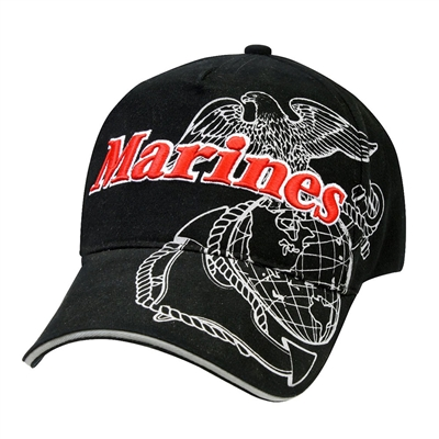 Rothco Black Marines Globe And Anchor Cap  - 9794