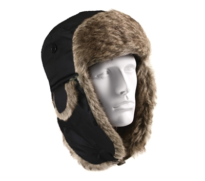Rothco Black Fur Flyers Hat - 9870