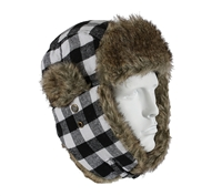 Rothco White Plaid Fur Flyer's Hat - 9873
