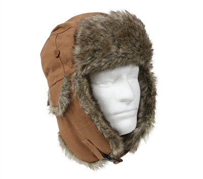 Rothco Tan Canvas Fur Flyers Hat - 9874