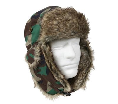 Rothco Woodland Camo Fur Flyers Hat - 9875