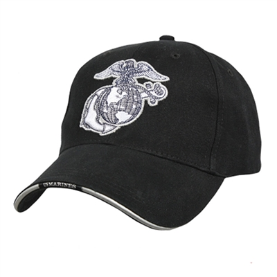 Rothco Black Marines Globe & Anchor Cap - 9897