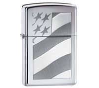 Zippo 21068 Old Glory Polished Chrome Lighter