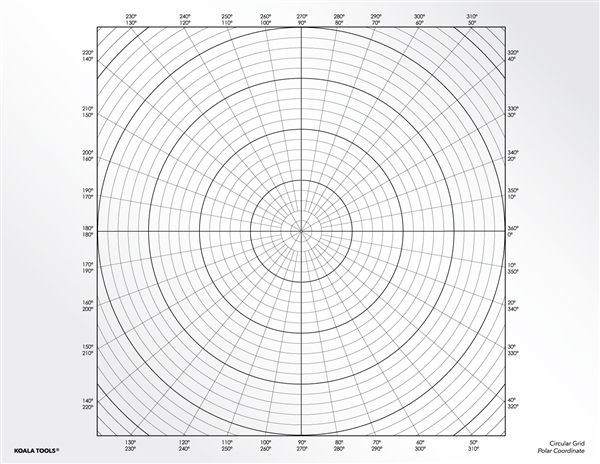 Circular (Polar Coordinates) Grid Transparency Sheet
