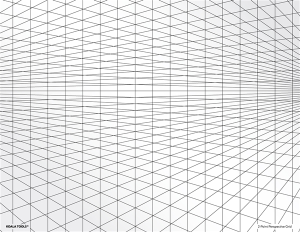 2-point Perspective Grid Transparency Sheet