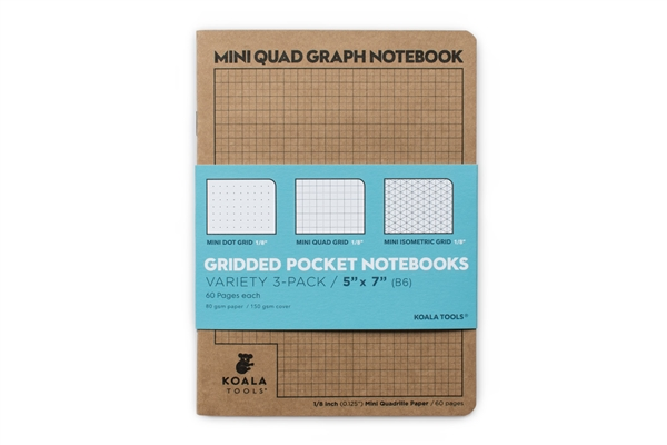"Mini 1/8"" quad grid, Mini 1/8"" dotted grid, Mini 1/8"" isometric grid paper notebook"