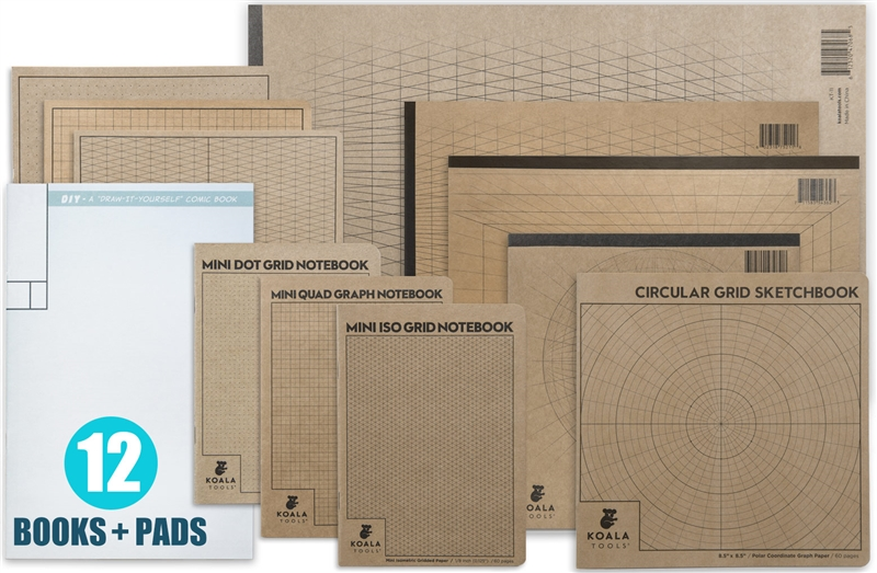 Complete Sketch Book & Sketch Pad Set (12 items)