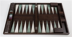 Luxury Backgammon Sets in Smoked Oak inlaid with cream and jade inserts