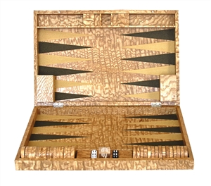 Luxury Backgammon Set in Japanese Tamo Ash inlaid in copper black and gold inserts