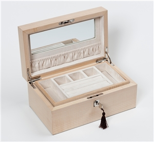 Luxury Jewellery Box in Figured Sycamore with internal jewellery tray and travelling box