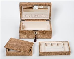 Luxury Jewellery Boxes in incredible Tamo Ash with internal jewellery tray and travelling box