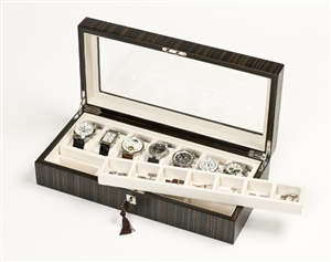 Dark Ebony Wood Watch Box which is lockable and can store up to seven watches