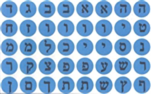 Blue Dot Aleph Bet Stickers