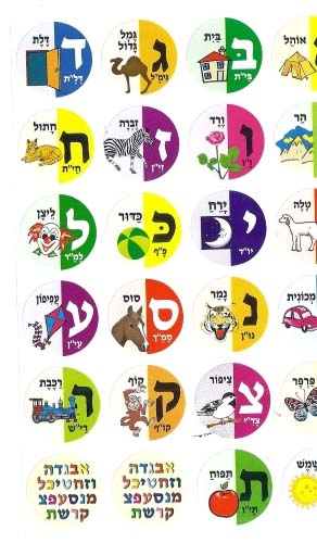 Aleph Bet stickers with words and pictures