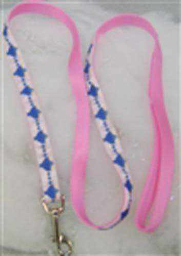 Narrow Jewish Dog Leash, Pink