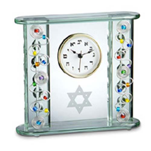 Glass Hebrew Clock