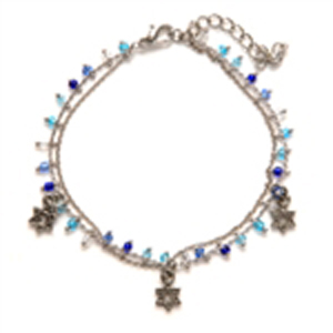 Thin Jewish Star Charm Bracelet - Blues