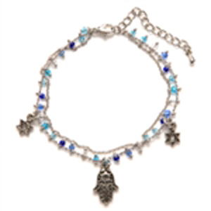 Thin Hamsa & Star Charm Bracelet - Black