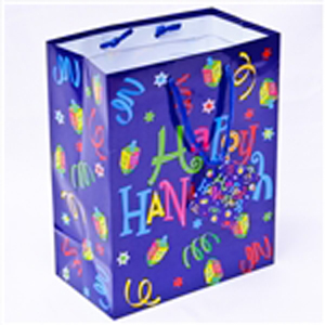 "Brightly colored ""curly"" gift bags"