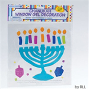 Blue Chanukah Menorah Window Gel Decoration